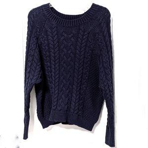 Aerie Navy Cable Knit Drop Shoulder Sweater sz S